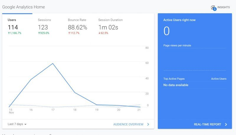 Old homepage in Google Analytics